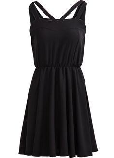 Black Spaghetti Strap Backless Pleated Dress - Sheinside.com