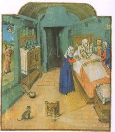 Kraamvrouw met vroedvrouw. Franse boekversiering rond 1450 (Het dagelijks leven in de middeleeuwen)