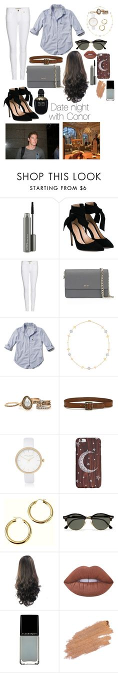 """""""Date night / / Conor Dwyer"""" by forevergreener23 ❤ liked on Polyvore featuring MAC Cosmetics, Gianvito Rossi, Burberry, DKNY, Abercrombie & Fitch, Idylle, Paige Denim, River Island, Ray-Ban and Lime Crime"""