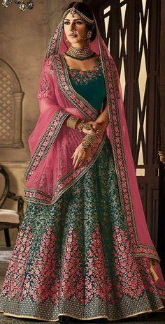 The Stylish And Elegant Lehenga Choli In Teal Colour Looks Stunning And Gorgeous With Trendy And Fashionable Embroidery,Zari Work,Stone Work,Lace Work . The Velvet Fabric Wedding Wear Lehenga Choli Lo. Indian Bridal Lehenga, Indian Bridal Outfits, Indian Bridal Fashion, Indian Bridal Wear, Pakistani Bridal, Pakistani Dresses, Indian Dresses, Eid Dresses, Bridal Dresses