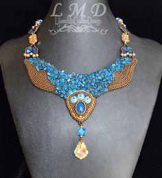 Stunning Elegant Blue and Gold necklace by Lijuanbeadjewelry Round Beads, Beaded Embroidery, Beautiful Necklaces, Gemstone Beads, Swarovski Crystals, Gold Necklace, Gemstones, Pearls, Elegant