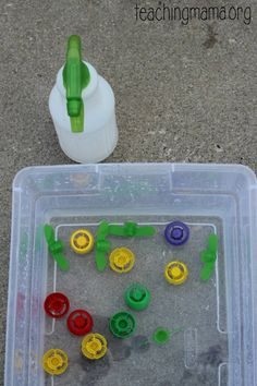 A simple fine motor activity with spray bottles for little ones.
