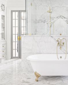 Quiet Serene White Decor Ideas, Nordic French & European Country Interior Design Inspiration - Hello Lovely - Timeless white marble luxurious bathroom by The Fox Group. Country Interior Design, Stone Interior, Bathroom Interior Design, Interior Design Inspiration, Country Interiors, Design Ideas, Marble Interior, Restroom Design, Luxury Interior