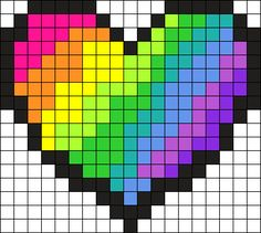 Rainbow Heart Perler Bead Pattern / Bead Sprite