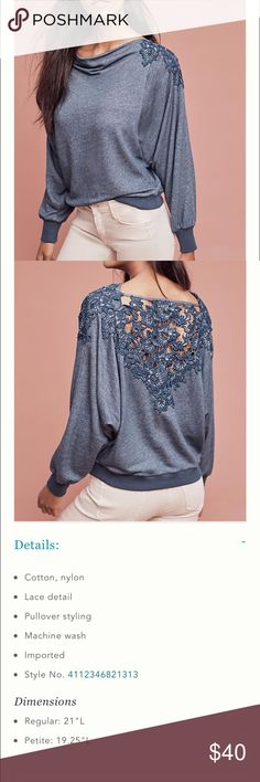 Anthropologie top Cute comfortable lace back top Anthropologie Tops Blouses