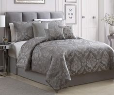 Aprima Kowina Damask Comforter Sets at Big Lots. Red Comforter, Queen Comforter Sets, Bedding Sets, Silver And Grey Bedroom, Silver Bedroom Decor, Silver Pillows, Luxury Bedding Collections, Duvet Cover Design, Master Bedroom Design