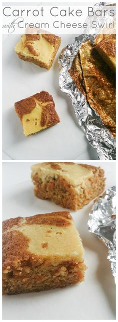 Carrot Cake Bars with Cream Cheese Swirl ~ super moist, carrot cake bars topped with a cream cheese swirl | Marsha's Baking Addiction