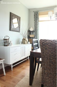 ~Dining Room by The Wood Grain Cottage~ I love the mix of colors and how the different textures flow together softly.