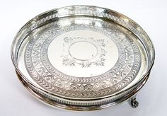 Small Drinks Tray Galleried Engraved Silver Plate James by Yonks, $46.00