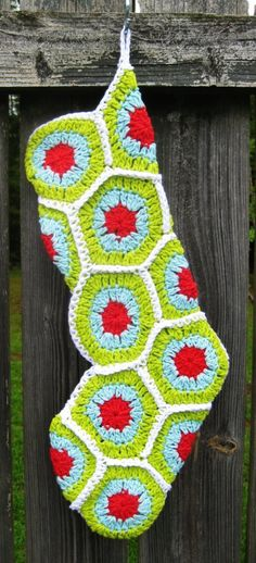 Crochet Christmas Stocking Granny Square Red Green Turquoise White Cotton #christmas #knitted #socks www.loveitsomuch.com