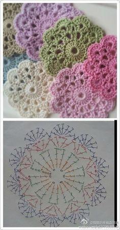 dessous de verres au crochet + pattern