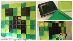 Minecraft Creeper Wall Display - don't know what mine craft is, but cool birthday party display using plates!