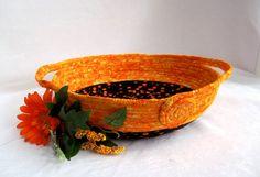 Orange Fabric Basket, Handmade Apricot Candy Bowl, Halloween Party Bowl, Bread…