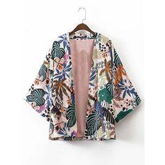 Tropical Print Open Front Kimono ($26) ❤ liked on Polyvore featuring elbow sleeve tops, elbow length sleeve tops, kimono top, tropical print top and tropical print kimono
