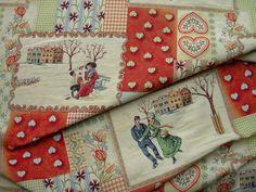 Schwere Gobelin mit Wintermotiv angeordnet wie eine Patchworkdecke.Schön für Kissen, Tischdecken,Vorhänge oder Vorhänge, aber auch eine Tasche kann man sich daraus nähen.140 cm Breite.  Lässt sich...