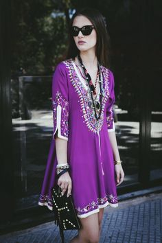 Boho Street Style Inspiration: Purple Embellished Mini Dress Summer Look #johnnywas