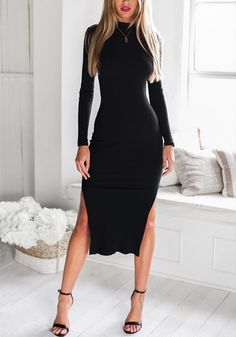 Black Cutout-Back Midi Dress