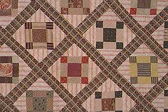 """PAST: """"Nine Patch Variation"""" pieced quilt from 1846. """"Mary's quilt contains an interesting collection of mid-nineteenth-century fabrics, including pieces from a political bandanna from William Henry Harrison's 1840 presidential campaign."""" Lots of history in these... (Nebraska State Historical Society, 1999)  Love the plaid sashing and the stripe triangles - lots of action!"""