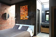 #bedroom #masclinedesign #masculinestyle #brickwall