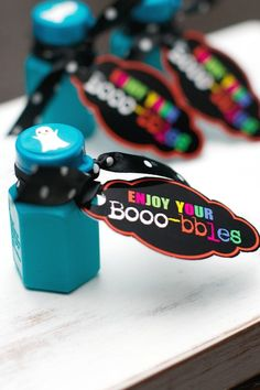 Non-Candy Halloween Snacks and Treats Ideas and Recipes - Booo-bles Printable Favor Tags to attach to bubbles via Tatertots and Jello
