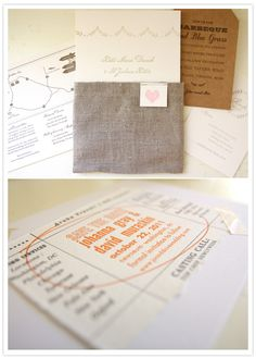 top portion - linen, stitched detail, simple lettering, cardstockycardboard texture mixed in