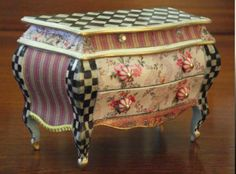 Antique Miniature Furniture French Antique Louis XV Style Tiled Top Commode Dresser