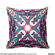 Beautiful complicated colorful moroccan ornament. throw pillow  Moroccan ornament for bedroom make interior unique and add aesthetics sense. Ornament create in oriental tradition. #Home #decor #Room #accessories #Interior #decorating #Idea #Styles #abstract