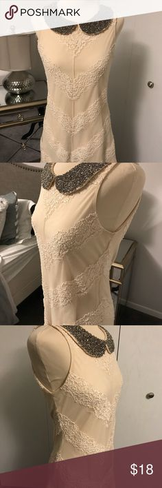 As U Wish dress Sweet lace overlay dress with beaded collar. It's so soft and feminine. EUC. As U Wish Dresses Midi