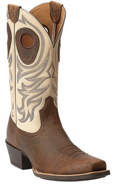 Ariat® Razorback™ Men's Earth Brown with Cream Top Square Toe Cowboy Boots