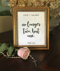No Longer Two But One table sign poster,religious wedding table sign,mark bible verse,spiritual wedding phrase,rehearsal dinner Wedding Phrases, Wedding Quotes, Wedding Couples, Wedding Signs, Wedding Ideas, Wedding Tables, Trendy Wedding, Diy Wedding, Dream Wedding