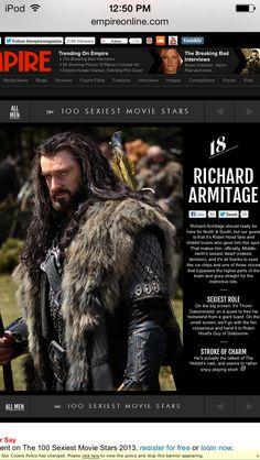 !!!! 18. Richard Armitage | The 100 Sexiest Movie Stars 2013 | Empire | !!!!!!