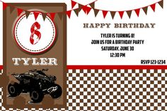 Four Wheeler Party Invitation by outsidetheboxdessert on Etsy, $19.00