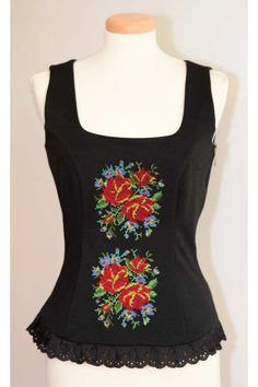 Top brodat cu motive florale RLA0023 Blouse, Tank Tops, Etsy, Floral, Stage, Roses, Clothes, Fashion, Embroidered Clothes