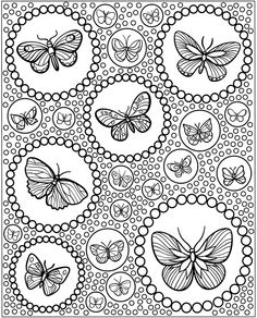 butterflies and bubbles coloring page