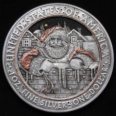 Hand carved 1oz 999 Silver coin in hobo nickel style Merry Christmas