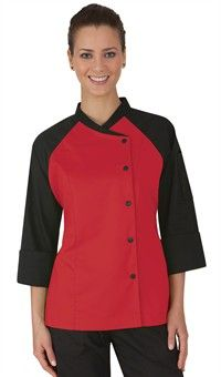 Women's Contrast Raglan Sleeve Chef Coat - Snap Front Closure - Poly/Cotton Fine Line Twill Style # 39559 Chef Dress, Restaurant Uniforms, Chef Shirts, Coats For Women, Clothes For Women, Work Uniforms, Work Attire, Chambray, Chef Jackets