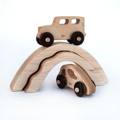 wooden toy car and truck with bridges, personalized eco-friendly toy