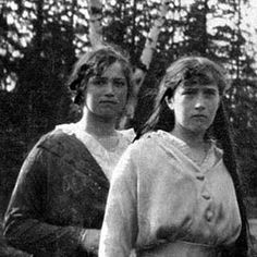 Maria and Anastasia Romanov in captivity in Siberia during the Russian Revolution 1917-1918. They would die with their entire family & servants in the night on July 17, 1918.