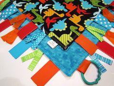 Ribbon Sensory Baby Boy Blanket Lovey Urban by MyRaggyObsession, $17.50 @Cindy austin