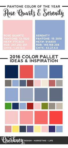 Made a Pantone 2016 Color Of the Year infographic to join the hype! Hope the color pallets help you guys with finding inspiration and think of ideas for your projects!  Designed by Quirkney, find me on Instagram and Twitter and watch out for my free downloadables <3