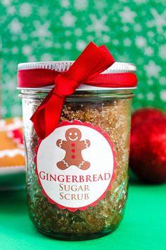 DIY Gingerbread Sugar Scrub Recipe - Includes Free Printable Labels.Great Homemade Christmas Gift Idea!