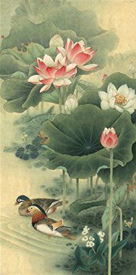 Two mandarin ducks by Lutos. Chinese Painting. Painted by Original Artist. Museum Quality. Free Shipping. Mounted On Scrolls for Hanging. Scroll Size about 31x73 IN. Painting Size 27x54 IN.