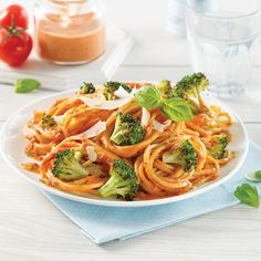 Spaghetti au brocoli rôti, sauce rosée au pesto - 5 ingredients 15 minutes Pesto, Spaghetti, Tofu, Cooking, Ethnic Recipes, Position, Couscous, Plaque, Sauces