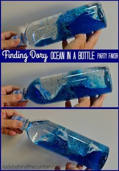 Finding Dory Ocean In A Bottle Party Favor is part of Kids Crafts Ocean Birthday Parties - Finding Dory Ocean In A Bottle Party Favor These fun ocean bottles are great as a party favor (maybe more for the Moms then the kids) They are somethin Ocean Activities, Activities For Kids, Shark Games For Kids, Ocean Games, Child Development Activities, Ocean Bottle, Diy Pour Enfants, Shark Party, Dolphin Party