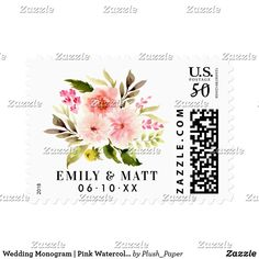 Wedding Monogram | Pink Watercolor Flowers Postage Custom wedding postage stamps feature a beautiful watercolor floral bouquet of greenery with pastel pink, blush, and peach spring daisy and rose flowers. Personalize the black custom monogram text with the Bride & Groom's names and wedding date. The black text color can be modified.