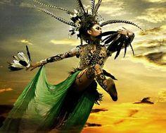 Kayan dancer performing hornbill dance during Gawai Dayak festival ~ Sarawak, Borneo...