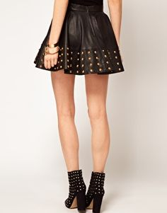 ASOS Stud Skirt in Leather- want it. (wouldn't mind her legs either...)