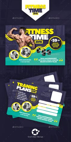 Fitness Time Postcard Template PSD, InDesign INDD. Download here: http://graphicriver.net/item/fitness-time-postcard-templates/16448319?ref=ksioks