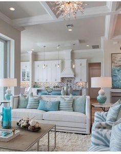 Coastal Living Rooms parts can add a contact of style and design to any house. Coastal Living Rooms can mean many things to many individuals, but all of them… Beach Cottage Style, Beach Cottage Decor, Coastal Cottage, Coastal Decor, Coastal Style, Coastal Colors, Bright Colors, Lake Cottage, Modern Coastal