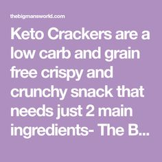 Keto Crackers are a low carb and grain free crispy and crunchy snack that needs just 2 main ingredients- The BEST keto friendly crackers! Keto Crackers Recipe, Low Carb Crackers, No Carb Recipes, Diet Recipes, Bread Stick, Ketones Diet, Keto Bread, Keto Snacks, Atkins